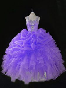 Modern Straps Sleeveless Organza Quinceanera Dress Beading and Ruffles and Pick Ups Zipper