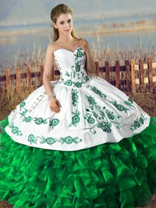 Hot Sale Dark Green Quinceanera Gowns Sweet 16 and Quinceanera with Embroidery and Ruffles Sweetheart Lace Up