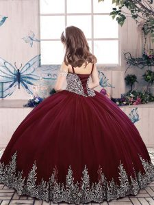 High End Ball Gowns Little Girls Pageant Gowns Eggplant Purple Straps Tulle Sleeveless Floor Length Lace Up