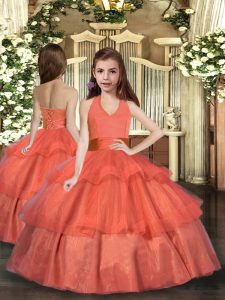 Trendy Orange Red Lace Up Little Girls Pageant Gowns Ruffled Layers Sleeveless Floor Length