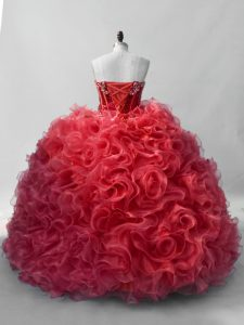 Dazzling Red Organza Lace Up Sweet 16 Quinceanera Dress Sleeveless Floor Length Sequins