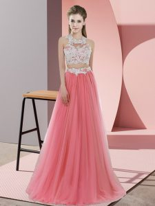 Stylish Watermelon Red Two Pieces Halter Top Sleeveless Tulle Floor Length Zipper Lace Quinceanera Dama Dress