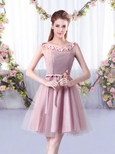 Delicate Pink Sleeveless Appliques and Belt Knee Length Quinceanera Court of Honor Dress
