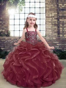 Sleeveless Beading and Ruffles Lace Up Pageant Dress for Womens