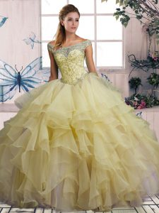 New Style Yellow Ball Gowns Beading and Ruffles Ball Gown Prom Dress Lace Up Organza Sleeveless Floor Length