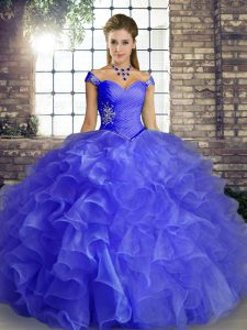 Off The Shoulder Sleeveless Lace Up Quinceanera Gown Blue Organza