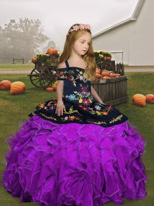 Eggplant Purple and Purple Lace Up Straps Embroidery and Ruffles Pageant Dress Organza Sleeveless