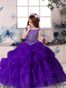 Beautiful Column/Sheath Little Girl Pageant Dress Purple Scoop Organza Sleeveless Floor Length Zipper