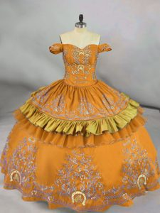 Fabulous Gold Sleeveless Floor Length Embroidery Lace Up Quinceanera Gowns