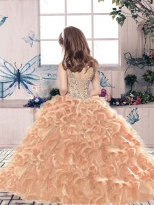 Scoop Sleeveless Pageant Gowns For Girls Floor Length Beading and Ruffles Dark Green Organza