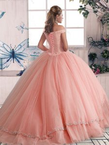 Stunning Light Blue Tulle Lace Up Off The Shoulder Sleeveless Ball Gown Prom Dress Brush Train Beading