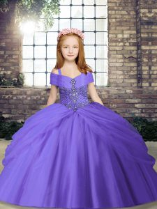 Sweet Floor Length Ball Gowns Sleeveless Lavender Kids Formal Wear Lace Up