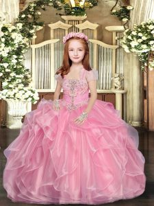 Beading Little Girls Pageant Dress Wholesale Baby Pink Lace Up Sleeveless Floor Length