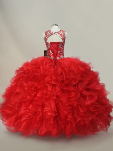 Super Scoop Sleeveless Sweet 16 Quinceanera Dress Floor Length Ruffles and Sequins Red Organza