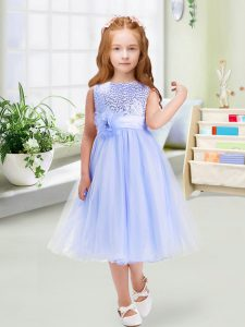 Adorable Lavender Scoop Neckline Sequins and Hand Made Flower Flower Girl Dress Sleeveless Zipper