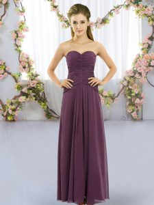 Dark Purple Sleeveless Floor Length Ruching Lace Up Damas Dress