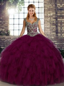 Discount Straps Sleeveless Organza Quinceanera Gowns Beading and Ruffles Lace Up