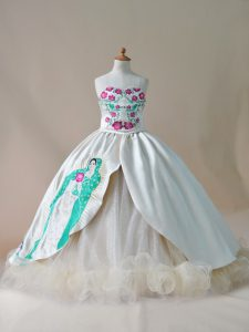Gorgeous Lace Up Child Pageant Dress Champagne for Wedding Party with Embroidery Sweep Train