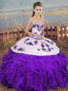 Elegant Sweetheart Sleeveless Organza Sweet 16 Quinceanera Dress Embroidery and Ruffles and Bowknot Lace Up