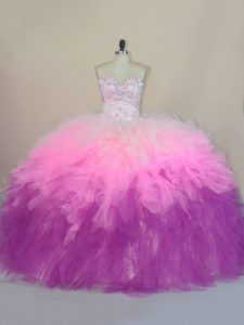 High Class Multi-color Quince Ball Gowns Sweetheart Sleeveless Brush Train Lace Up