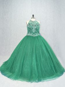 Luxury Lace Up Sweet 16 Dresses Green for Sweet 16 and Quinceanera with Beading Brush Train