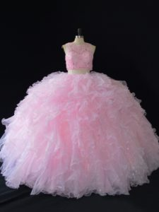 Sleeveless Organza Floor Length Zipper Quince Ball Gowns in Baby Pink with Beading