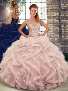Customized Floor Length Pink 15 Quinceanera Dress Tulle Sleeveless Beading and Ruffles