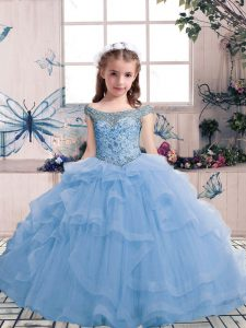 Cute Sleeveless Floor Length Beading and Ruffles Lace Up Little Girl Pageant Gowns with Light Blue