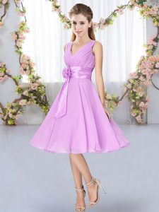Knee Length Lace Up Damas Dress Lilac for Wedding Party with Hand Made Flower