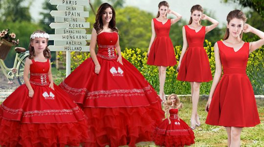 Fashion Red Strapless Neckline Embroidery and Ruffles Quinceanera Dresses Sleeveless Lace Up