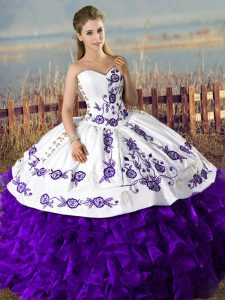 Fashion Floor Length Lace Up Quinceanera Dress White And Purple for Sweet 16 and Quinceanera with Embroidery and Ruffles