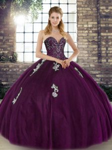 Designer Sleeveless Tulle Floor Length Lace Up Ball Gown Prom Dress in Dark Purple with Beading and Appliques