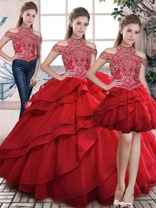 Three Pieces Ball Gown Prom Dress Red High-neck Organza Sleeveless Floor Length Lace Up