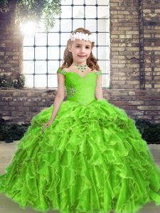 Excellent Floor Length Pageant Dress for Girls Straps Sleeveless Lace Up