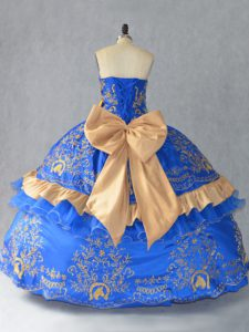 New Style Floor Length Blue Quinceanera Dresses Satin and Organza Sleeveless Embroidery and Bowknot