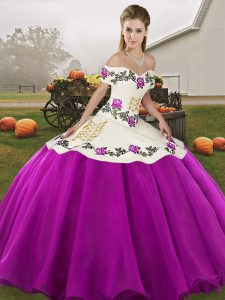 Traditional Embroidery Sweet 16 Dresses White And Purple Lace Up Sleeveless Floor Length