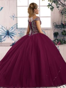 Sweetheart Cap Sleeves Tulle Vestidos de Quinceanera Beading Brush Train Lace Up
