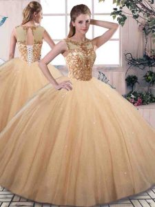 Sleeveless Tulle Floor Length Lace Up Sweet 16 Quinceanera Dress in Gold with Beading