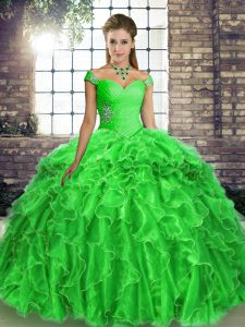Shining Lace Up Quinceanera Gown Green for Military Ball and Sweet 16 and Quinceanera with Beading and Ruffles Brush Train