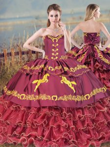 Dazzling Lace Up Sweet 16 Dresses Burgundy for Sweet 16 and Quinceanera with Embroidery Brush Train