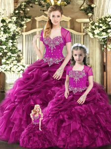 Fuchsia Sweetheart Lace Up Beading and Ruffles and Pick Ups Sweet 16 Dresses Sleeveless