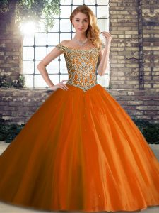 Delicate Orange Red Sleeveless Beading Lace Up Quinceanera Gowns