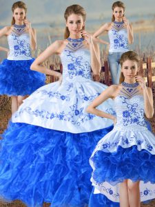 Fashion Blue And White Lace Up Quinceanera Dresses Embroidery and Ruffles Sleeveless Floor Length