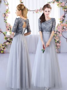Custom Designed Tulle Scoop Half Sleeves Lace Up Appliques Quinceanera Dama Dress in Grey