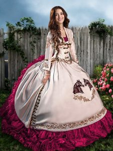 Hot Pink Sleeveless Floor Length Embroidery and Ruffles Lace Up Sweet 16 Quinceanera Dress