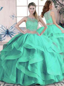 Glittering Floor Length Turquoise Sweet 16 Quinceanera Dress Tulle Sleeveless Beading and Ruffles