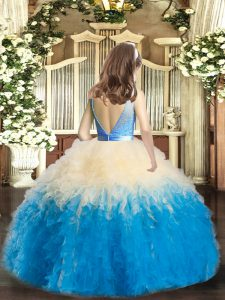 Customized Multi-color Backless Pageant Gowns For Girls Lace and Ruffles Sleeveless Floor Length