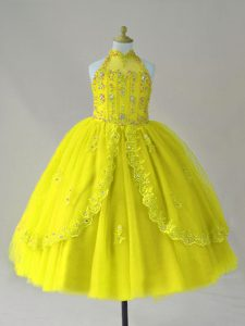 Yellow Ball Gowns High-neck Sleeveless Tulle Floor Length Lace Up Beading and Appliques Pageant Dress for Teens