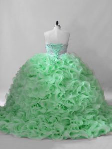 Flirting Quinceanera Gown Sweet 16 and Quinceanera with Beading Sweetheart Sleeveless Brush Train Lace Up