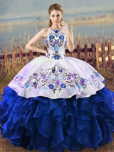 Adorable Blue And White Sleeveless Organza Lace Up 15th Birthday Dress for Sweet 16 and Quinceanera